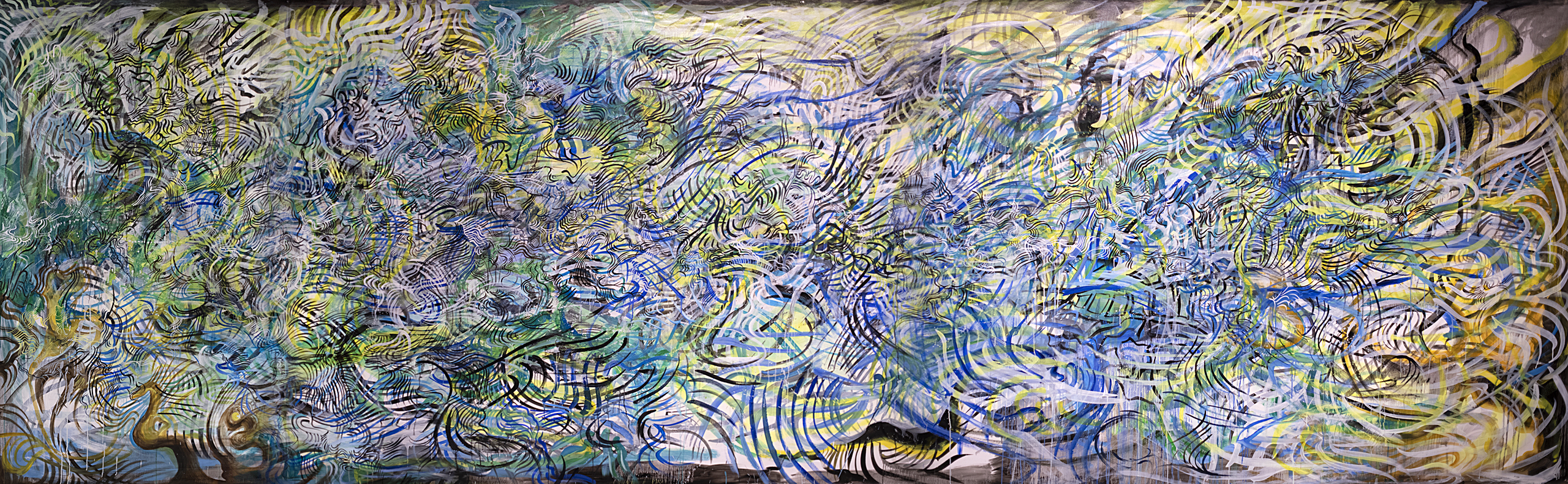 "La Primavera - mixed media on canvas - 212"" x 63"""